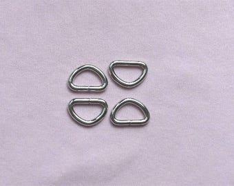 Nickel Unwelded D Rings -- 100 pcs--0.5 inch inside wide