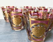 vintage barware glasses - Culver Amethyst Sun - double old fashioned - purple gold