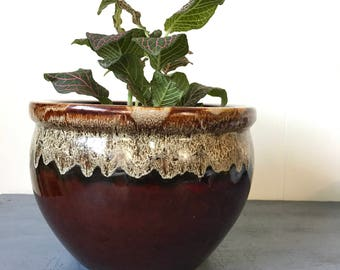 vintage drip glaze ceramic planter - large round brown plant pot - boho decor