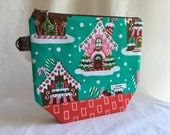 SALE- Christmas Gingerbread Houses Knitting/Project Bag