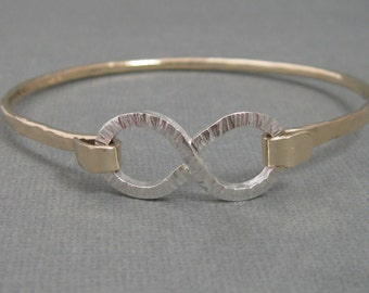 Infinity Mixed Metal Hammered Latch Bangle Bracelet in Sterling Silver and Gold Filled, Artisan Metalsmith Mixed Metal Bracelet