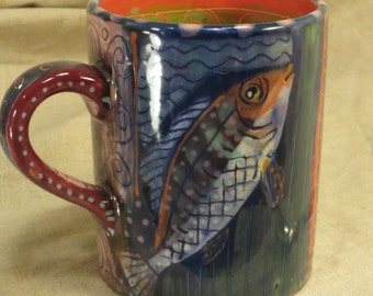 Stylish Fish Mug By Pam Marwede Great Color And Pattern