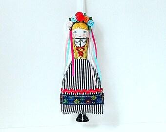 Folk Doll Ornament, European Folk Doll Ornament, Art Doll Ornament, Textile Ornament, Fabric Applique Wall Decoration