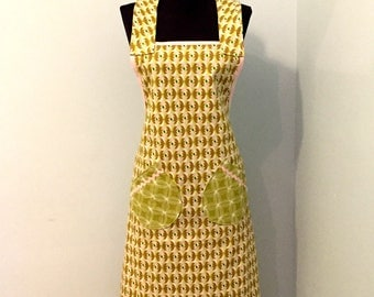Apron - 100% Cotton Apron for Women - one size fits most - Pink and Green Geometric