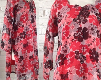 1970s Mod-style Floral Tunic, size L