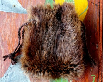 Vintage upcycled muskrat fur drawstring pouch with braided yarn drawstrings dice tarot runes crystals