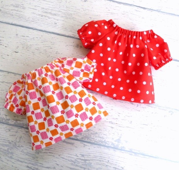 18 inch Doll Shirts, Two Peasant Tops, Red Polkadot Top AND Pink Orange Top