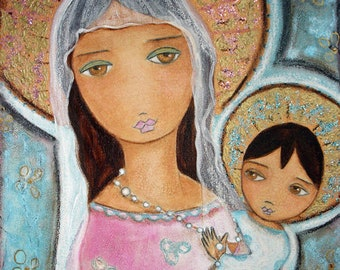 Mary with Rosary -   Giclee print mounted on Wood (4 x 4 inches) Folk Art  by FLOR LARIOS