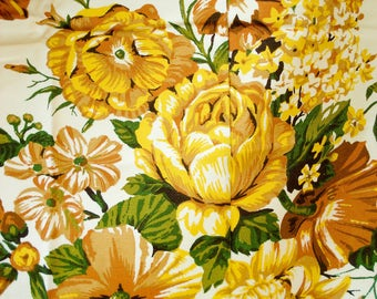 Bold and beautiful vintage 60s floral curtains - 4 panels