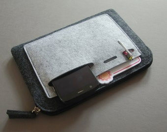 Felt Zipper Bag, Tech Organizer Pouch.