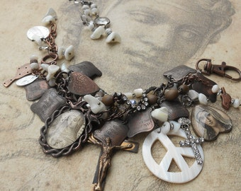 When I Was Mary's Prayer Antique Copper 10 Commandent Vintage Rosary Bracelet
