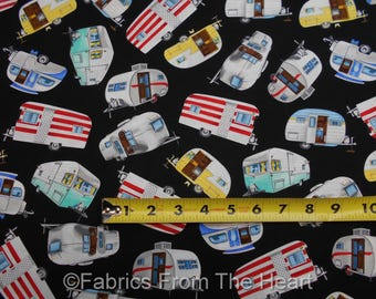 Travel Trailers Teardrop Camper Summer on Black BY YARD Timeless Treasure Fabric