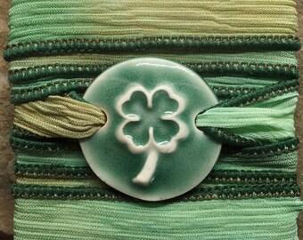Light Green Shamrock Silk Ribbon Bracelet