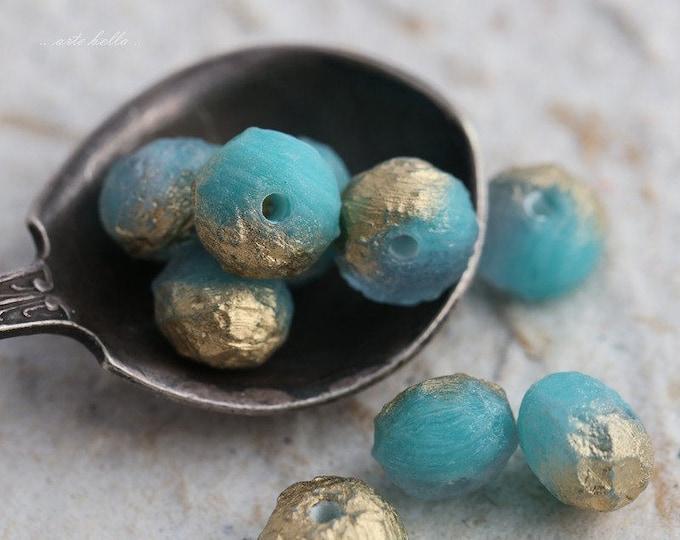 sale .. AQUA BLUE STONES .. 10 Premium Stone Picasso Czech Glass Beads 6x9mm (5695-10)