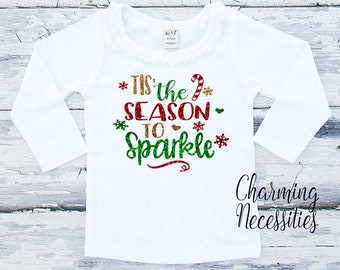 3T Ready To Ship Girls Christmas Long Sleeve Glitter Shirt in Tis the Season to Sparkle Charming Necessities red green gold