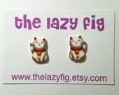 Lucky Cat - stud earrings