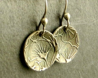 Botanical Earrings, Fine Silver Earrings, Gifts for Her Disc Earrings,Floral Jewelry
