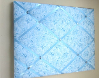 "16""x20"" Blue Wildflower Batik French Memory Board, Bow Holder, Bow Board, Vision Board, Photo Display, Business Card Display, Ribbon Board"
