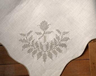 """Linen Cross-Stitch Tablecloth Ecru Beige Large Appx 58"""" x 88"""" Heavyweight Linen Banquet Tablecloth"""