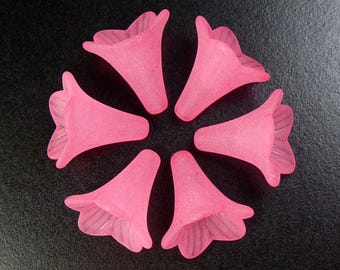 Acrylic Bead 6 Trumpet Flower Frosted Morning Glory Bugle Salmon Pink 23mm x 21mm (1018luc23-37)