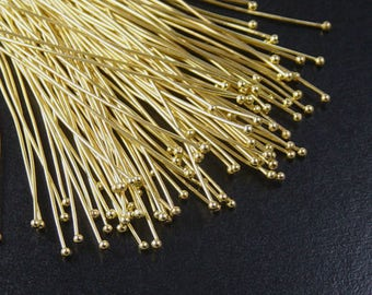 Ball Headpins 100 Ball Pins Shiny Golden Bright 2 inch (50mm) 23 gauge NF Gold (1069pin50d2)
