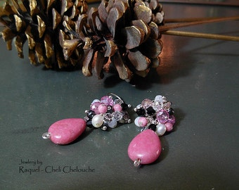 "Rhodonite teardrop Cluster Earrings- Multi Gemstones and Swarovski crystals- ""Pink Berries""- Rhodonite-Freshwater pearls-hematite-Moonstone"
