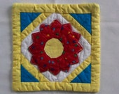 Mug Rug Coaster  Mini Quilt  Whimsical Red Dresden Plate
