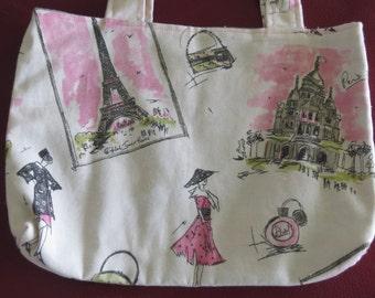 Paris Pet Supply Bag /Paris Bag / Eiffel Tower Bag / Paris Tote / Bible Bag / Ipad Bag / Free US Shipping / Bootsandbelle
