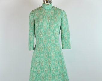 Vintage 60s Mod Jade Dress 32 Waist Size Medium