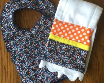NEW....Navy and Orange Tiny Flower Bib and Burp Cloth Set