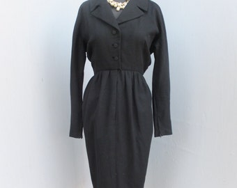 Vintage I. Magnin & Co. Importers, Black Day Dress, Secretary Dress, Shirt Style, Zipper on Sleeves