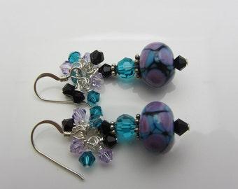 Lampwork Earrings Purple Blue and Black Earrings Glass Bead Earrings Dangle Drop Earrings Cluster Earrings SRAJD USA Handmade