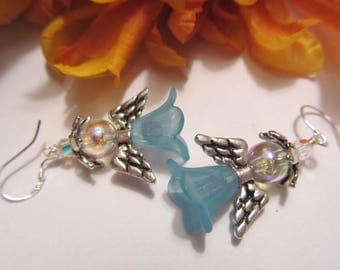 Garden Fairy or Angel Earrings Holiday Earrings Artisan Earrings Blue Earrings SRAJD Handmade Mothers Day Gift