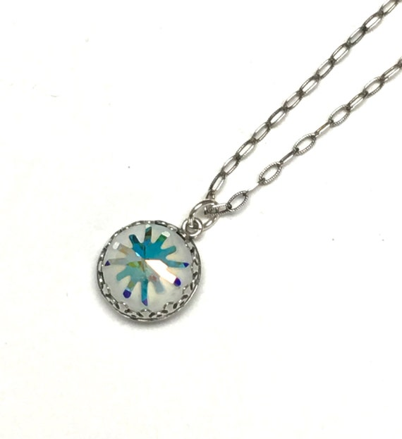 Swarovski crystal sea urchin or snowflake necklace