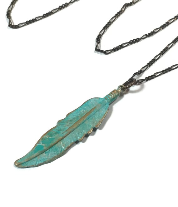 Painted Brass Feather on Fine Brass Chain