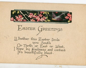Vintage Easter Postcard Cute bird, trees with pretty pink blooms, art nouveau