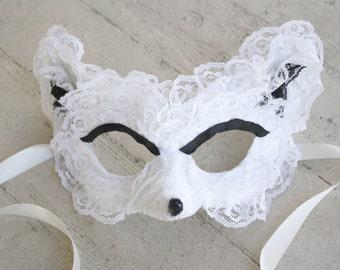 Vulpa - OOAK Arctic Fox Masquerade Mask in White Lace