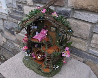 Fairy Play House Pretty in Pink  with white LED Lights