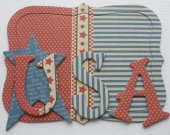 "Patriotic, Independence Day Chipboard Letters - Alphabet Die Cuts - Fourth of July -  1.5"" Tall Letters"