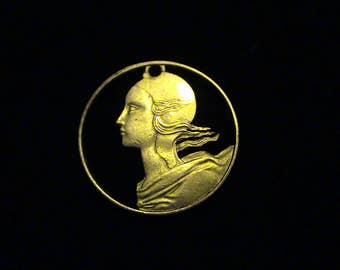 France - cut coin pendant - Woman - 1983