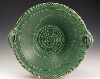Handmade Stoneware Pottery Basket Bowl Green Herringbone Bowl