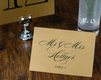Traditional Gold Wedding Escort Cards | Rustic wedding Place Cards | Julienne & Robert