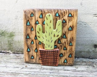 Mini Wood Art Block- Cactus - Woodburned art - Shelf Display - Wood Pieced Art