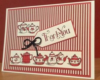 Greeting Card, Thank You Card, Blank Card, Tea Pot Card,
