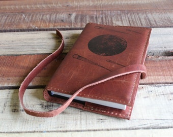 Leather Journal, Leather Sketchbook, Custom Leather Journal, Custom Sketchbook, Free Shipping, Personalized Journal, refillable, moon