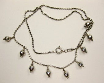 Sterling Bead Dangle Necklace