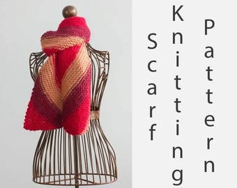 Diagonal Scarf Knitting Pattern, Instant Download, Scarf PDF Patterm, Winter Scarf Pattern, Knit Scarf Pattern