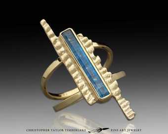 Cuttlefish and Faceted Blue Kyanite Ring 18K, 14K, 10K Yellow Gold
