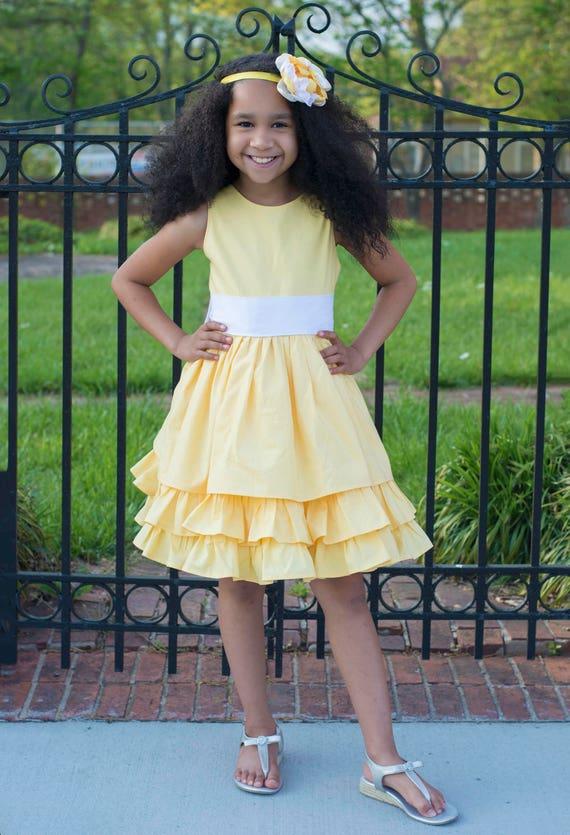 Girls Yellow and White Ruffled Tier Dress - Yellow Easter Dress - Girls Yellow Sister Dress with Big Bow and Ruffles