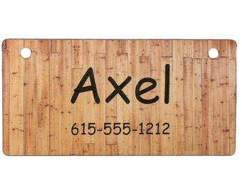 Wood Fence Crate Tag Personalized with Your Dog's Name - Free Shipping